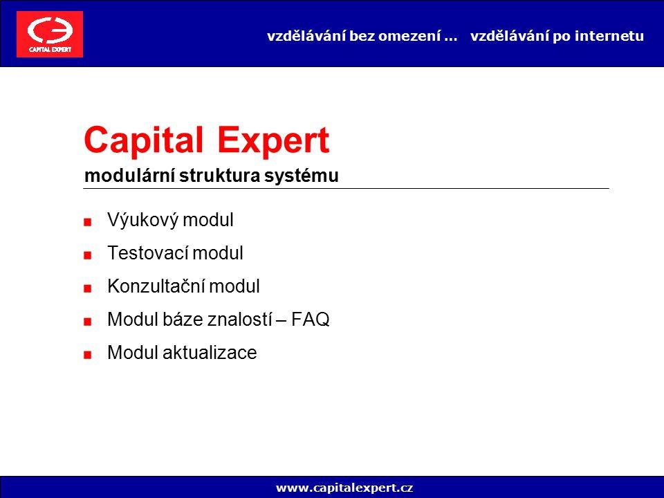 vzdělávání bez omezení … vzdělávání po internetu Výukový modul Testovací modul Konzultační modul Modul báze znalostí – FAQ Modul aktualizace www.capit
