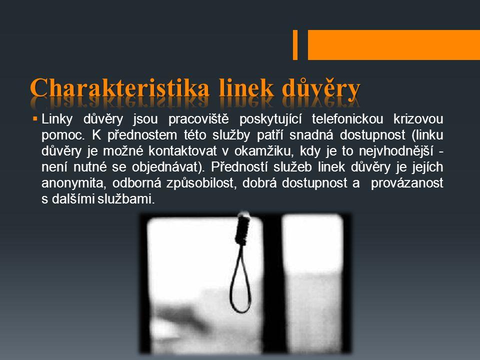  Linky důvěry jsou pracoviště poskytující telefonickou krizovou pomoc. K přednostem této služby patří snadná dostupnost (linku důvěry je možné kontak
