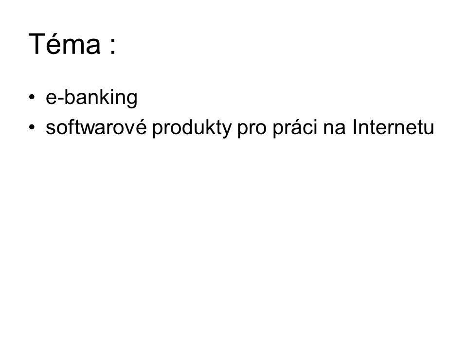 Téma : e-banking softwarové produkty pro práci na Internetu