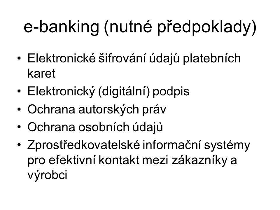 e-banking (nutné předpoklady) Elektronické šifrování údajů platebních karet Elektronický (digitální) podpis Ochrana autorských práv Ochrana osobních údajů Zprostředkovatelské informační systémy pro efektivní kontakt mezi zákazníky a výrobci