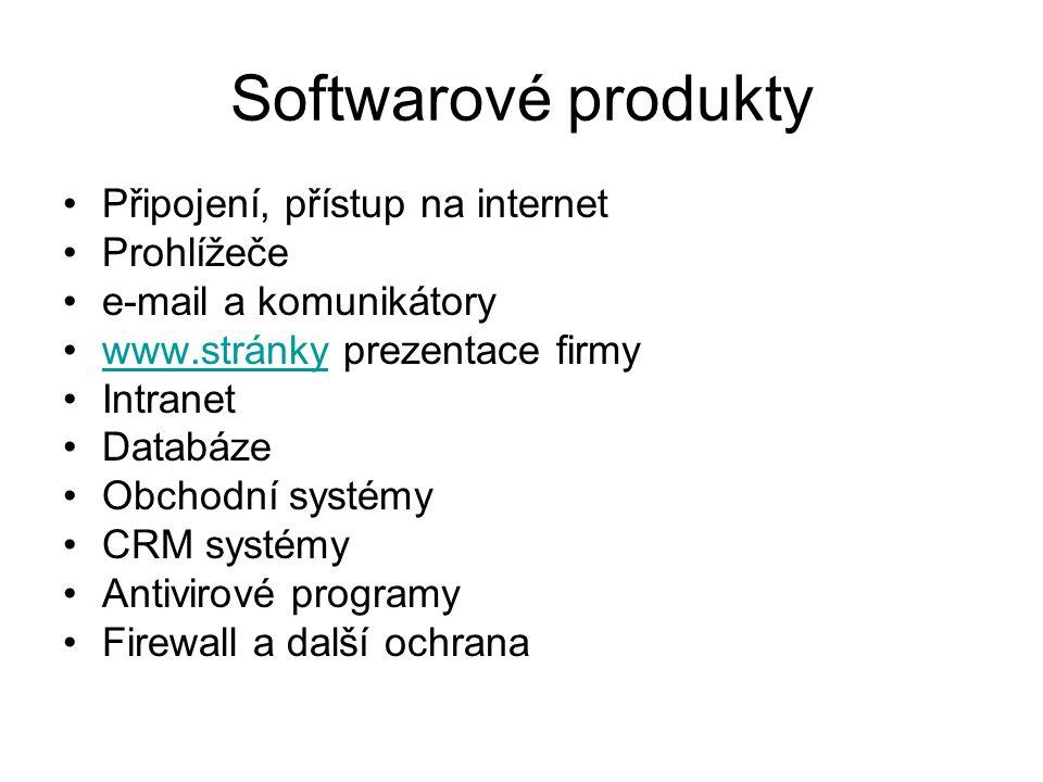 Softwarové produkty Připojení, přístup na internet Prohlížeče e-mail a komunikátory www.stránky prezentace firmywww.stránky Intranet Databáze Obchodní systémy CRM systémy Antivirové programy Firewall a další ochrana