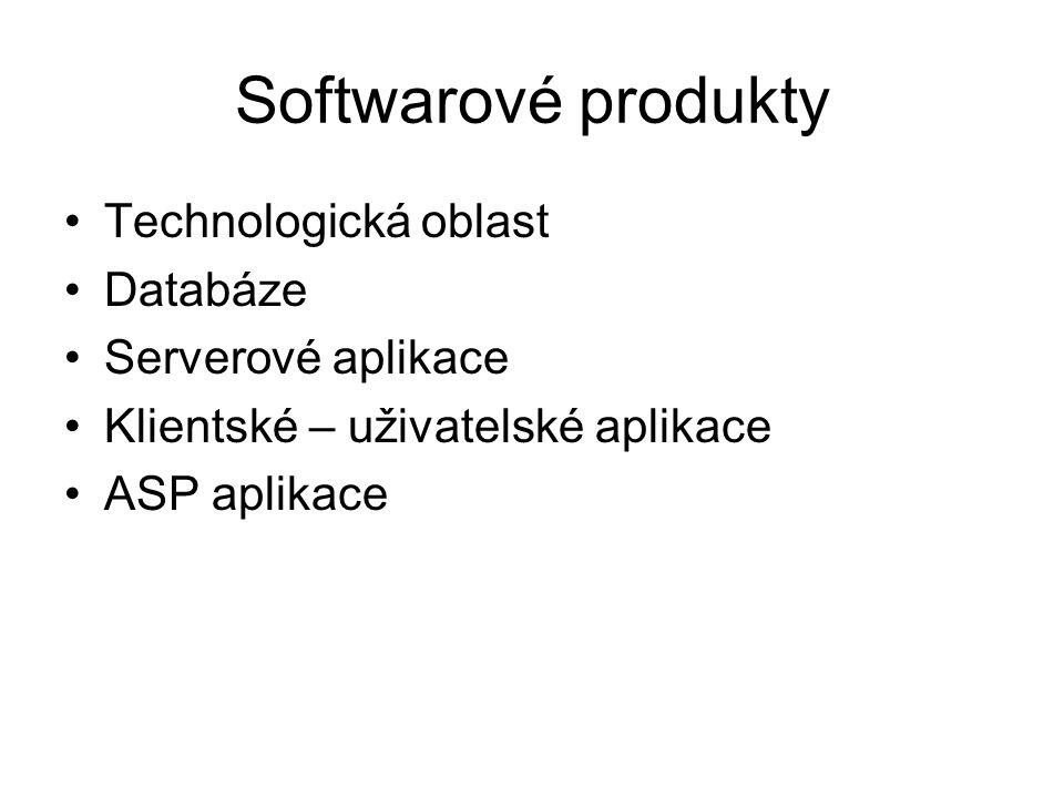Softwarové produkty Technologická oblast Databáze Serverové aplikace Klientské – uživatelské aplikace ASP aplikace