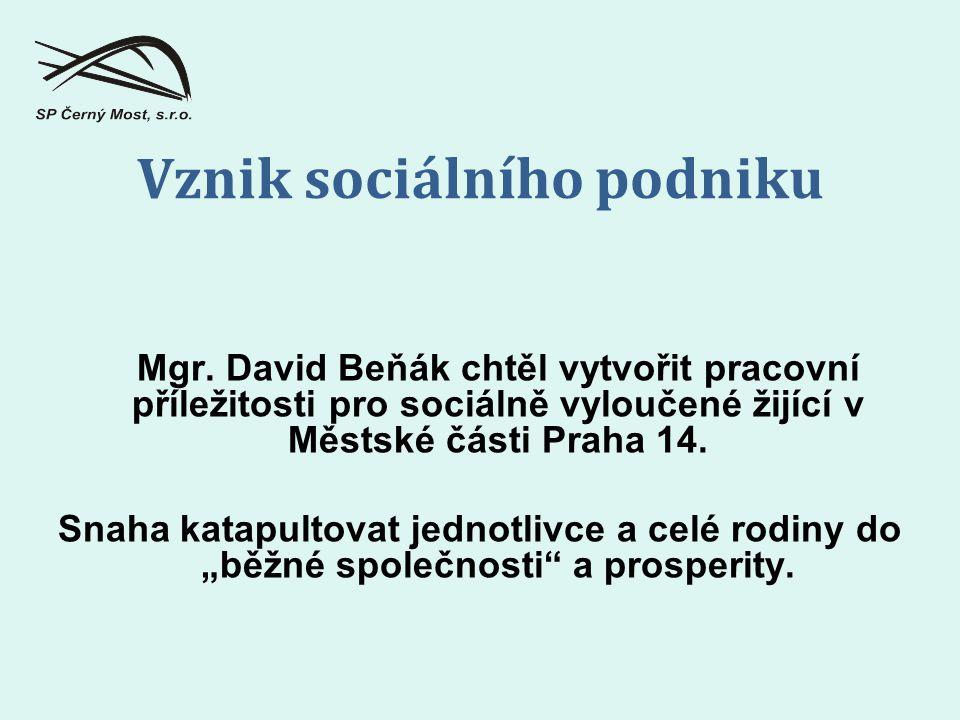 Mgr. David Beňák chtěl vytvořit pracovní příležitosti pro sociálně vyloučené žijící v Městské části Praha 14. Snaha katapultovat jednotlivce a celé ro