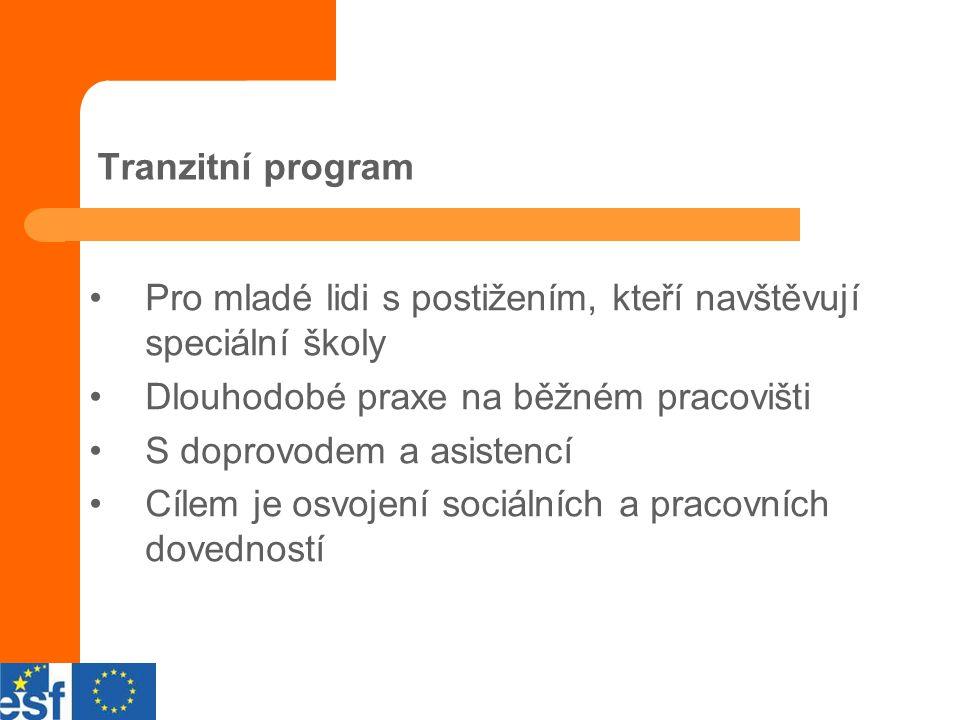 Tranzitní program Pro mladé lidi s postižením, kteří navštěvují speciální školy Dlouhodobé praxe na běžném pracovišti S doprovodem a asistencí Cílem je osvojení sociálních a pracovních dovedností