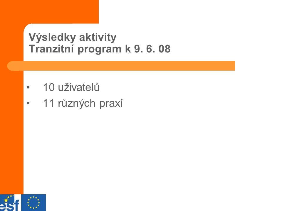 Výsledky aktivity Tranzitní program k 9. 6. 08 10 uživatelů 11 různých praxí