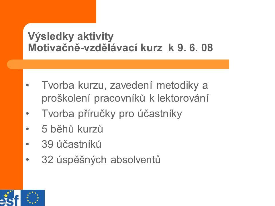 Výsledky aktivity Motivačně-vzdělávací kurz k 9. 6.