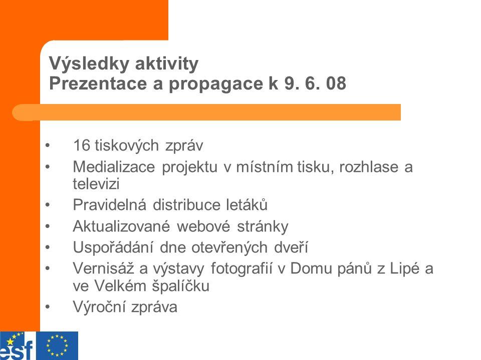 Výsledky aktivity Prezentace a propagace k 9. 6.