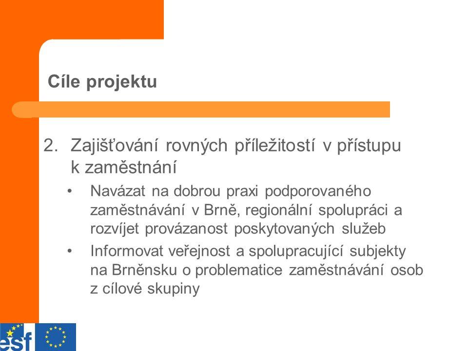 Cíle projektu 2.Zajišťování rovných příležitostí v přístupu k zaměstnání Navázat na dobrou praxi podporovaného zaměstnávání v Brně, regionální spolupráci a rozvíjet provázanost poskytovaných služeb Informovat veřejnost a spolupracující subjekty na Brněnsku o problematice zaměstnávání osob z cílové skupiny