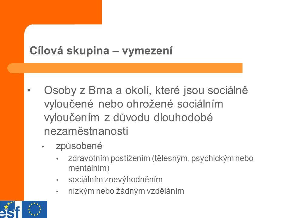 Cílová skupina – vymezení Osoby z Brna a okolí, které jsou sociálně vyloučené nebo ohrožené sociálním vyloučením z důvodu dlouhodobé nezaměstnanosti způsobené zdravotním postižením (tělesným, psychickým nebo mentálním) sociálním znevýhodněním nízkým nebo žádným vzděláním