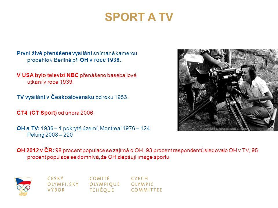 SPORT A TV První živě přenášené vysílání snímané kamerou proběhlo v Berlíně při OH v roce 1936. V USA bylo televizí NBC přenášeno baseballové utkání v