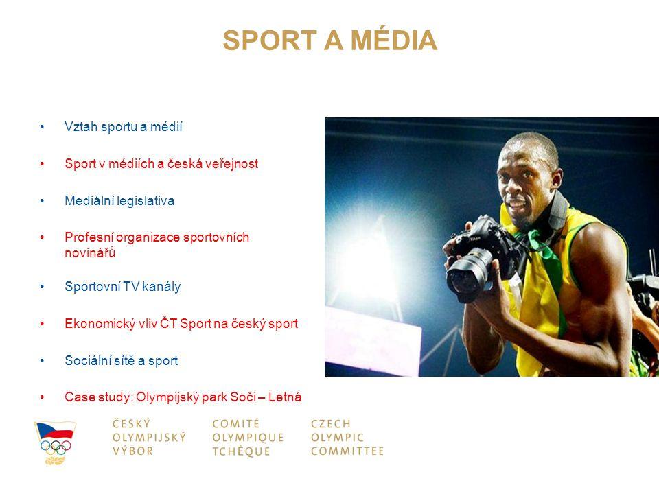 SPORT A MÉDIA Vztah sportu a médií Sport v médiích a česká veřejnost Mediální legislativa Profesní organizace sportovních novinářů Sportovní TV kanály