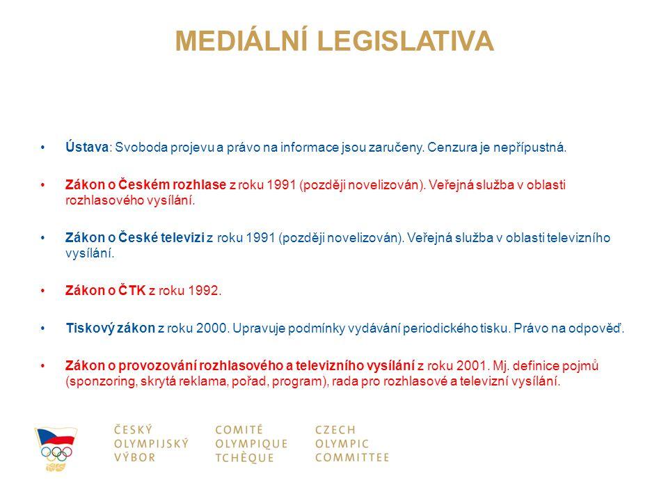 MEDIÁLNÍ LEGISLATIVA Ústava: Svoboda projevu a právo na informace jsou zaručeny. Cenzura je nepřípustná. Zákon o Českém rozhlase z roku 1991 (později