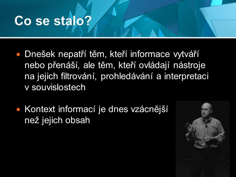  Dnešek nepatří těm, kteří informace vytváří nebo přenáší, ale těm, kteří ovládají nástroje na jejich filtrování, prohledávání a interpretaci v souvislostech  Kontext informací je dnes vzácnější než jejich obsah 19