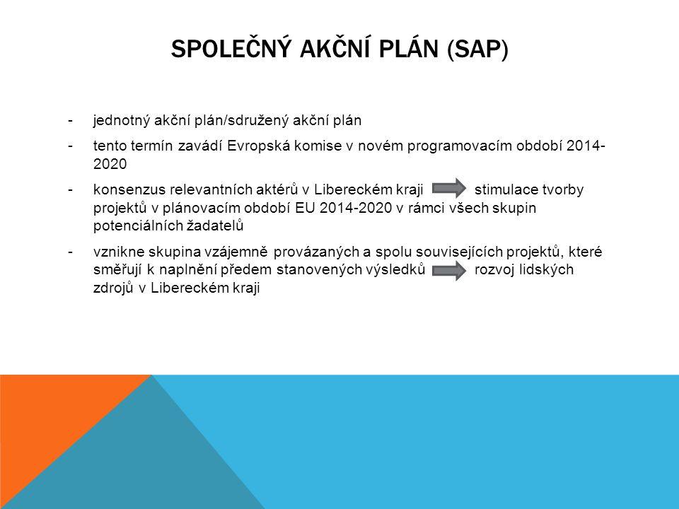 SPOLEČNÝ AKČNÍ PLÁN (SAP) -jednotný akční plán/sdružený akční plán -tento termín zavádí Evropská komise v novém programovacím období 2014- 2020 -konse