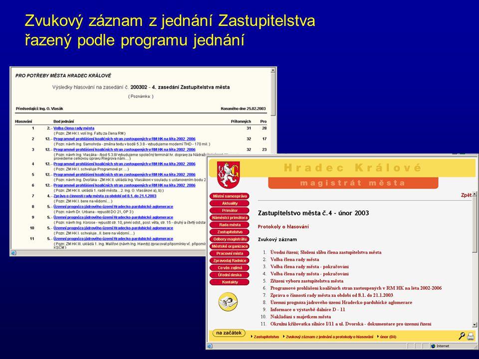 Zvukový záznam z jednání Zastupitelstva řazený podle programu jednání
