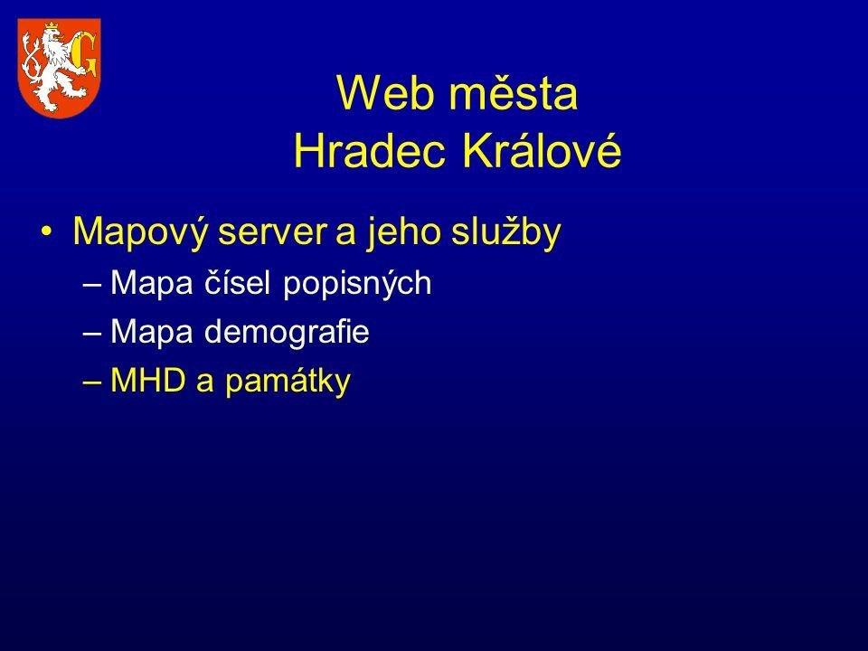 Web města Hradec Králové Mapový server a jeho služby –Mapa čísel popisných –Mapa demografie –MHD a památky