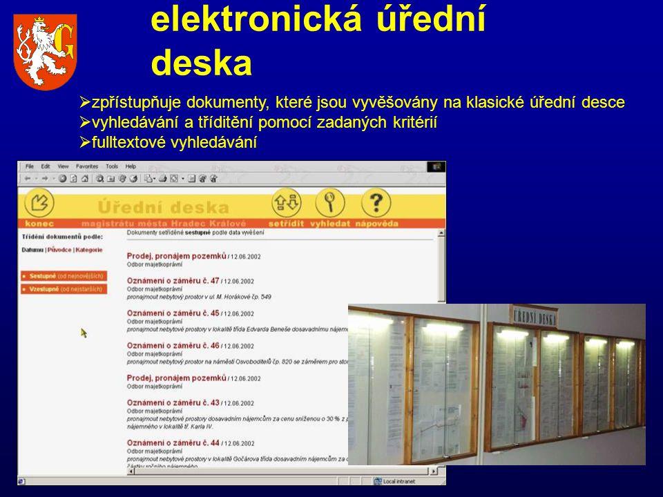  zpřístupňuje dokumenty, které jsou vyvěšovány na klasické úřední desce  vyhledávání a tříditění pomocí zadaných kritérií  fulltextové vyhledávání elektronická úřední deska