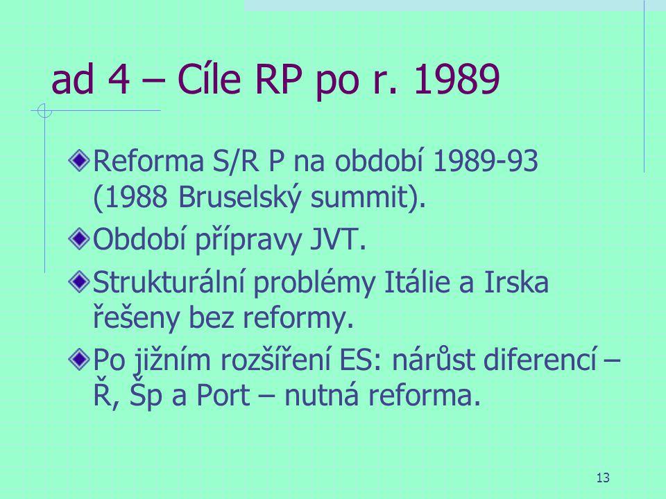 13 ad 4 – Cíle RP po r. 1989 Reforma S/R P na období 1989-93 (1988 Bruselský summit).