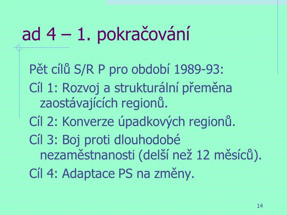 14 ad 4 – 1. pokračování Pět cílů S/R P pro období 1989-93: Cíl 1: Rozvoj a strukturální přeměna zaostávajících regionů. Cíl 2: Konverze úpadkových re