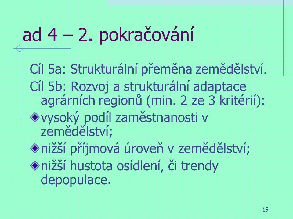 15 ad 4 – 2. pokračování Cíl 5a: Strukturální přeměna zemědělství.