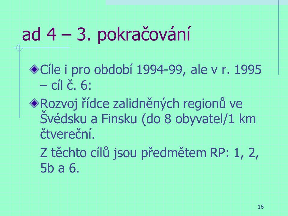 16 ad 4 – 3. pokračování Cíle i pro období 1994-99, ale v r.