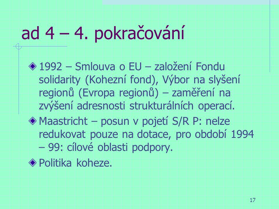 17 ad 4 – 4. pokračování 1992 – Smlouva o EU – založení Fondu solidarity (Kohezní fond), Výbor na slyšení regionů (Evropa regionů) – zaměření na zvýše