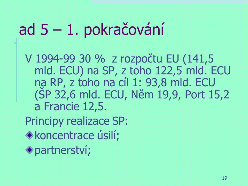 19 ad 5 – 1. pokračování V 1994-99 30 % z rozpočtu EU (141,5 mld.