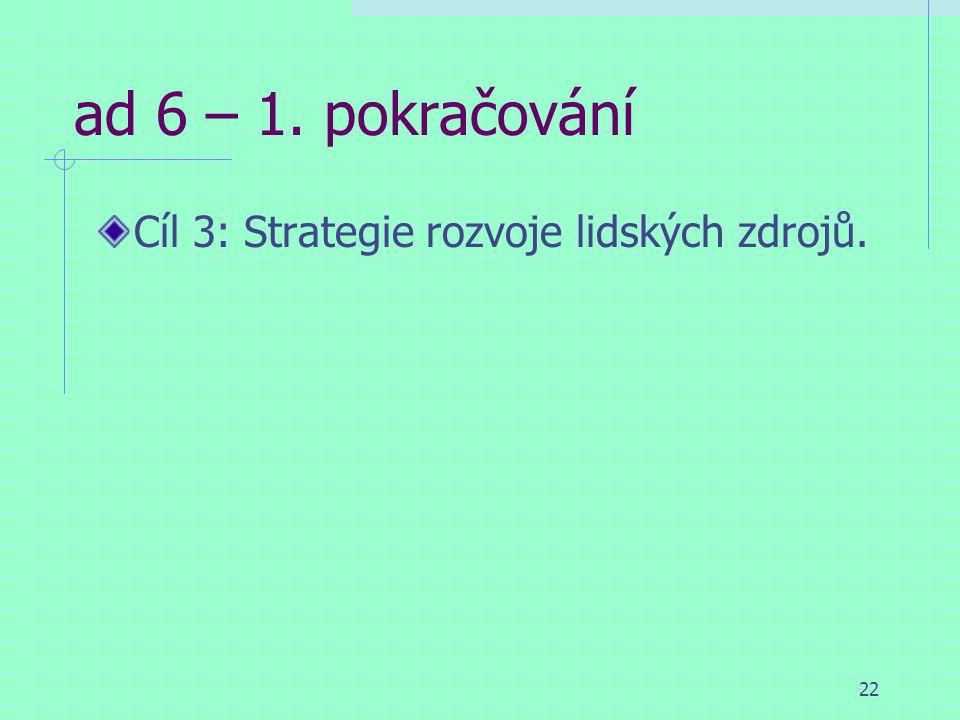 22 ad 6 – 1. pokračování Cíl 3: Strategie rozvoje lidských zdrojů.