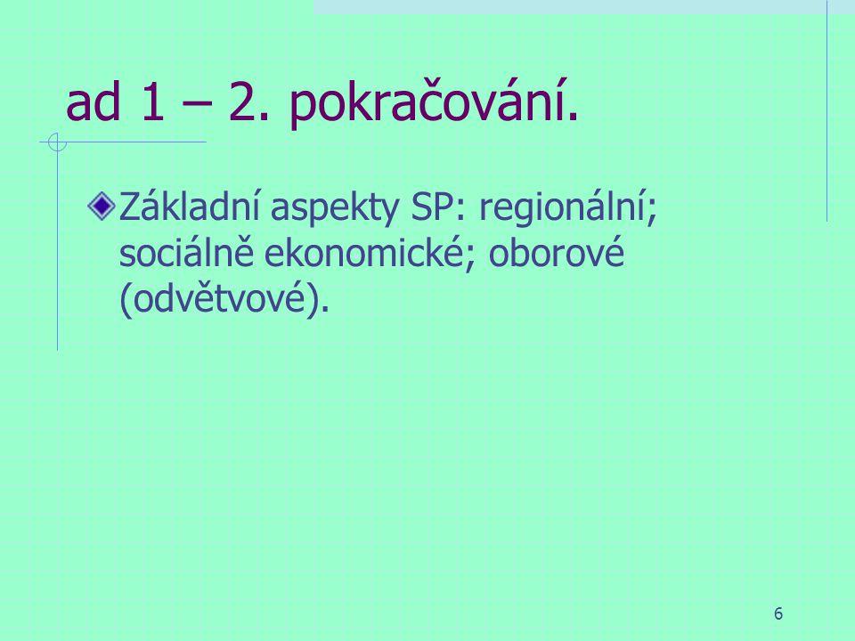 6 ad 1 – 2. pokračování. Základní aspekty SP: regionální; sociálně ekonomické; oborové (odvětvové).