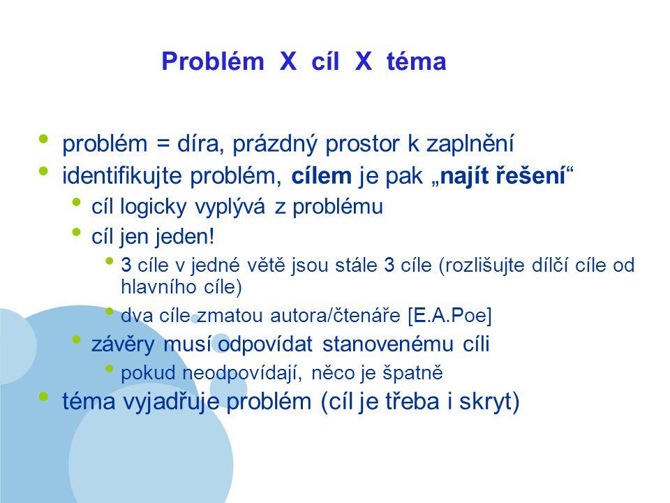 """Company LOGO Problém X cíl X téma problém = díra, prázdný prostor k zaplnění identifikujte problém, cílem je pak """"najít řešení cíl logicky vyplývá z problému cíl jen jeden."""