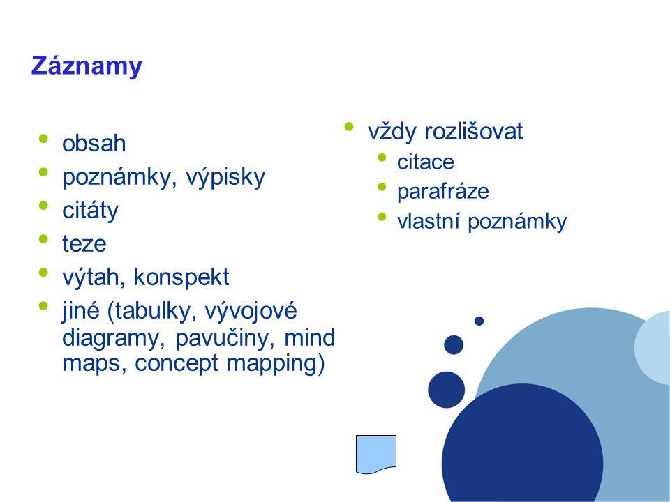 Záznamy obsah poznámky, výpisky citáty teze výtah, konspekt jiné (tabulky, vývojové diagramy, pavučiny, mind maps, concept mapping) vždy rozlišovat citace parafráze vlastní poznámky