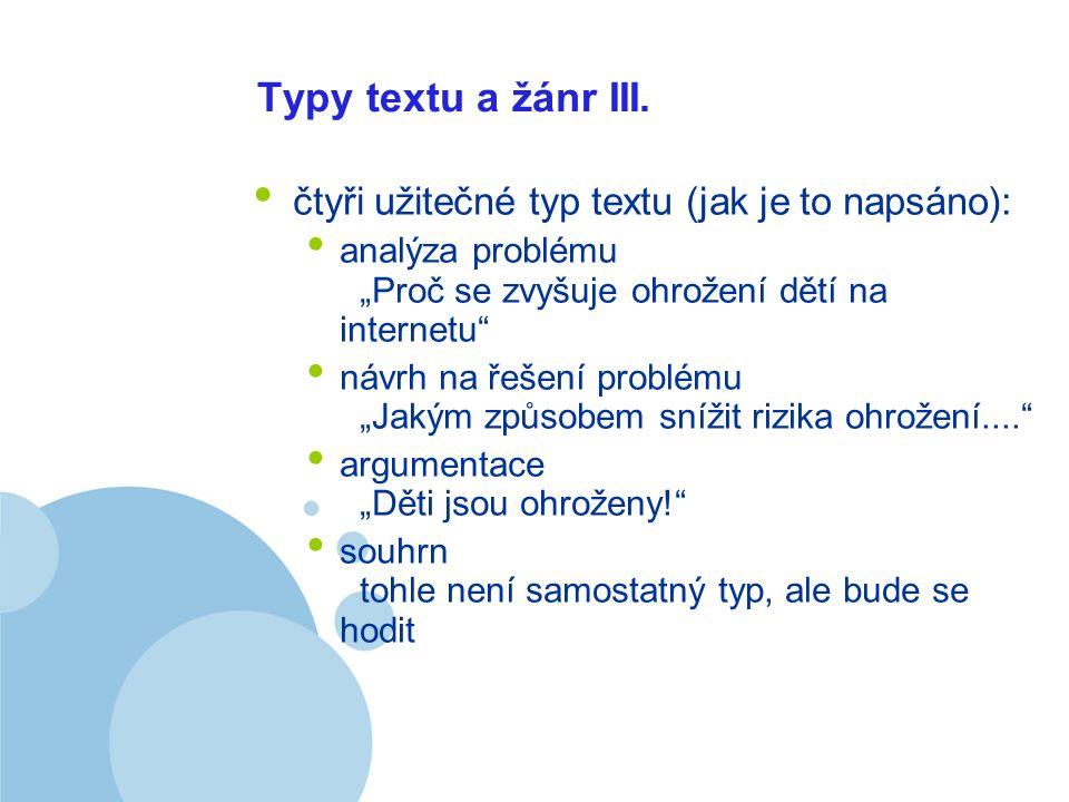 Company LOGO Typy textu a žánr III.