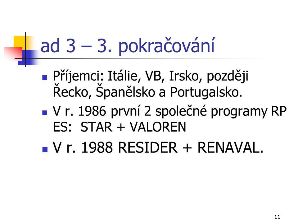 11 ad 3 – 3. pokračování Příjemci: Itálie, VB, Irsko, později Řecko, Španělsko a Portugalsko. V r. 1986 první 2 společné programy RP ES: STAR + VALORE
