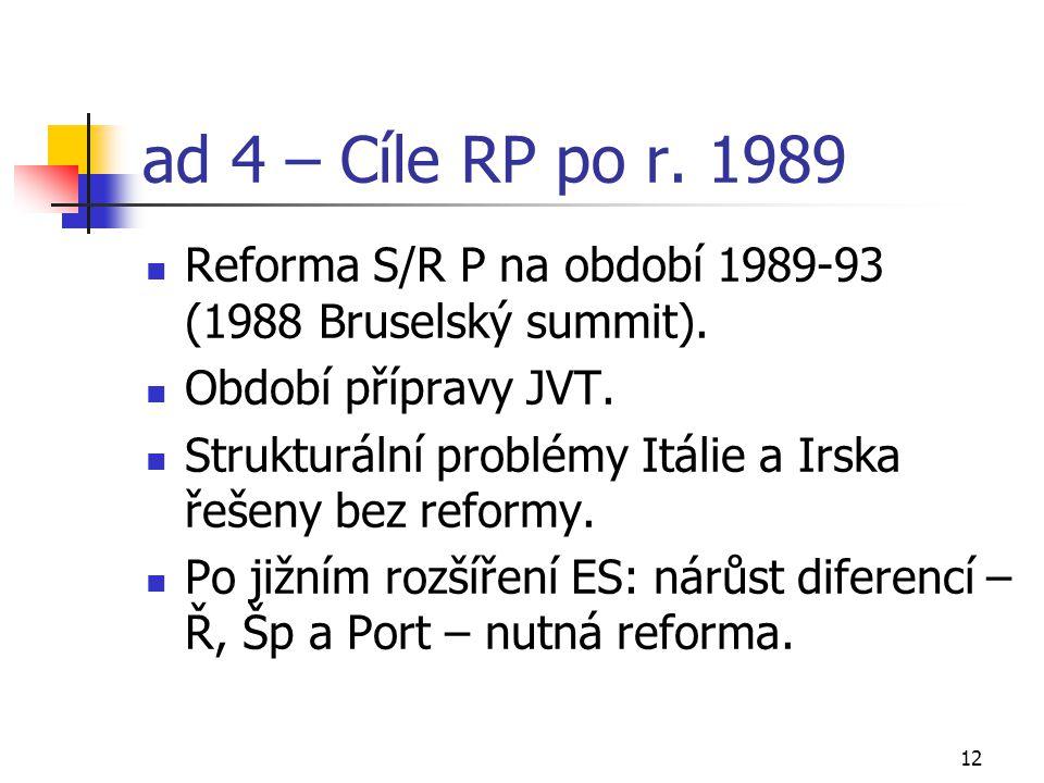 12 ad 4 – Cíle RP po r. 1989 Reforma S/R P na období 1989-93 (1988 Bruselský summit). Období přípravy JVT. Strukturální problémy Itálie a Irska řešeny