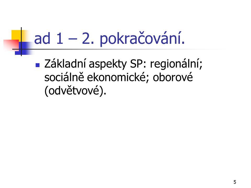 5 ad 1 – 2. pokračování. Základní aspekty SP: regionální; sociálně ekonomické; oborové (odvětvové).
