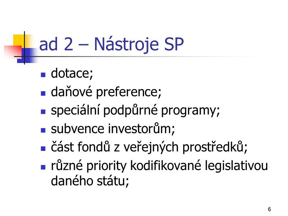 6 ad 2 – Nástroje SP dotace; daňové preference; speciální podpůrné programy; subvence investorům; část fondů z veřejných prostředků; různé priority kodifikované legislativou daného státu;