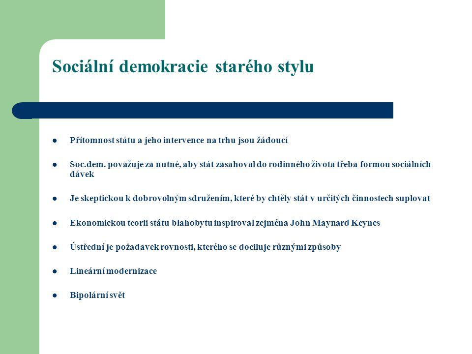 Sociální demokracie starého stylu Přítomnost státu a jeho intervence na trhu jsou žádoucí Soc.dem.