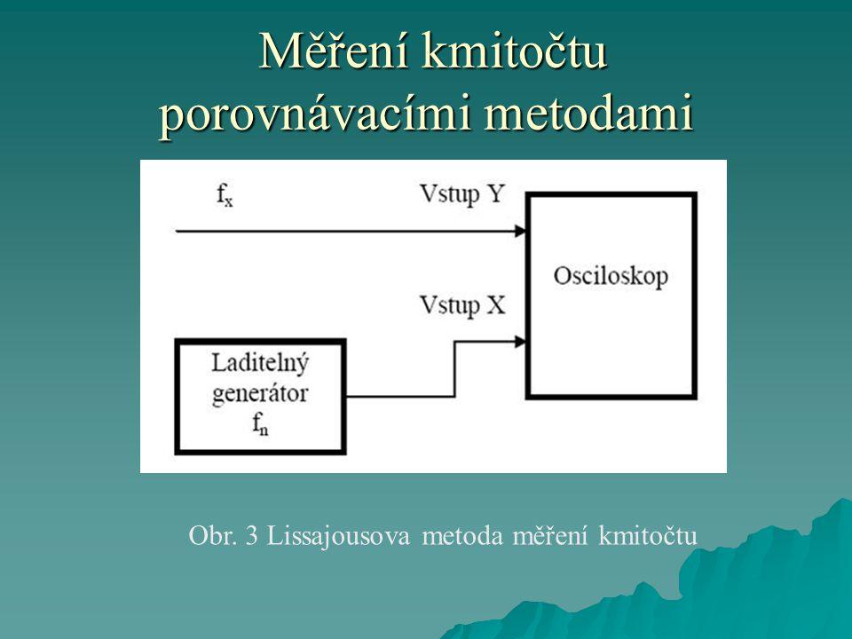 Měření kmitočtu porovnávacími metodami Měření kmitočtu porovnávacími metodami Obr. 3 Lissajousova metoda měření kmitočtu