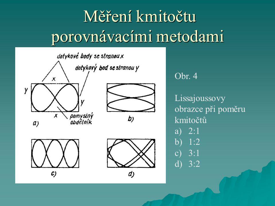 Měření kmitočtu porovnávacími metodami Měření kmitočtu porovnávacími metodami Obr. 4 Lissajoussovy obrazce při poměru kmitočtů a)2:1 b)1:2 c)3:1 d)3:2