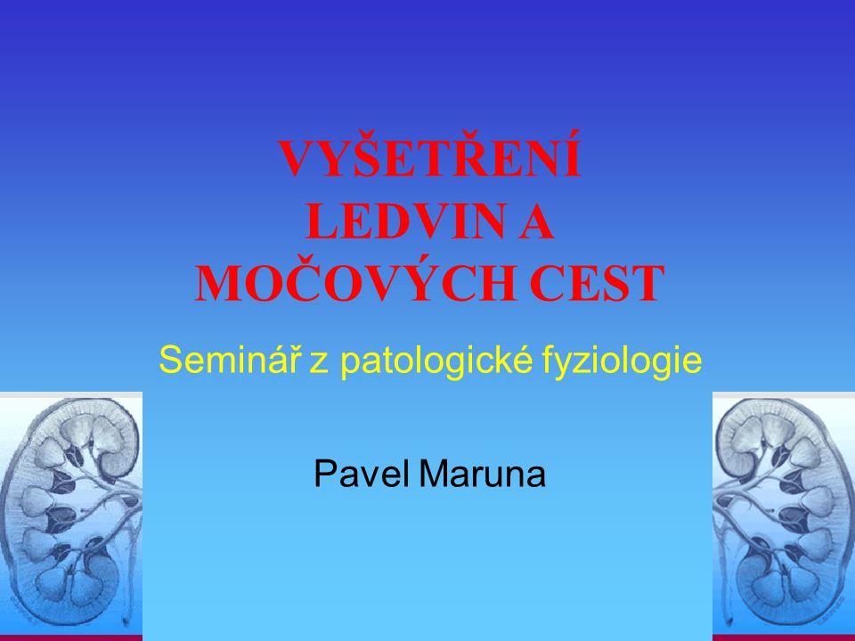 VYŠETŘENÍ LEDVIN A MOČOVÝCH CEST Seminář z patologické fyziologie Pavel Maruna