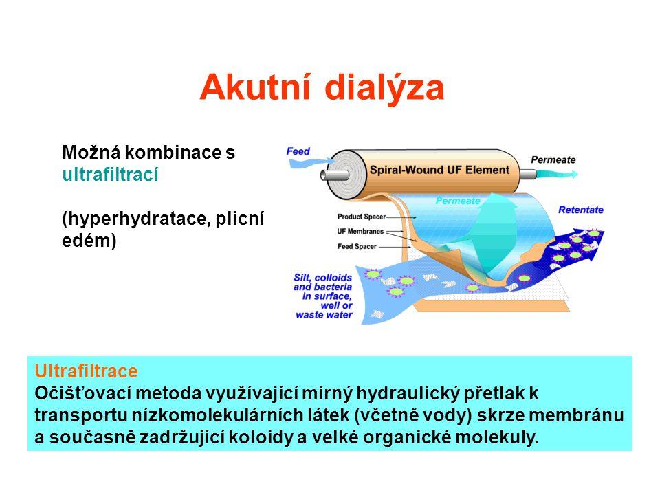 Akutní dialýza Možná kombinace s ultrafiltrací (hyperhydratace, plicní edém) Ultrafiltrace Očišťovací metoda využívající mírný hydraulický přetlak k t