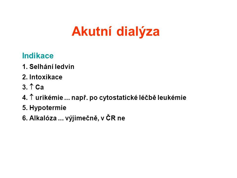 Akutní dialýza Indikace 1. Selhání ledvin 2. Intoxikace 3.  Ca 4.  urikémie... např. po cytostatické léčbě leukémie 5. Hypotermie 6. Alkalóza... výj