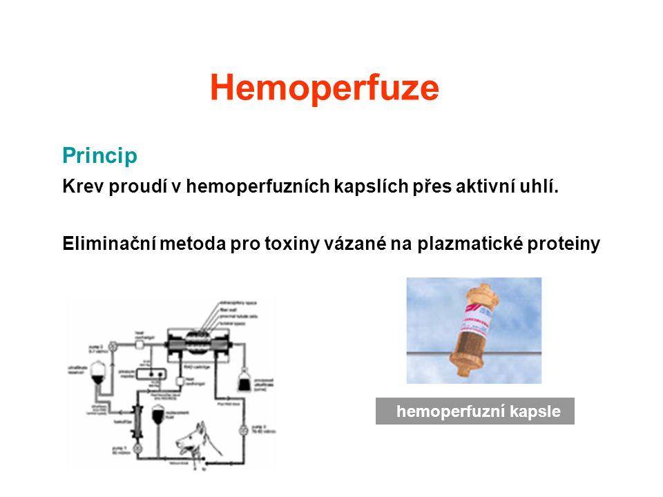 Hemoperfuze Princip Krev proudí v hemoperfuzních kapslích přes aktivní uhlí. Eliminační metoda pro toxiny vázané na plazmatické proteiny hemoperfuzní