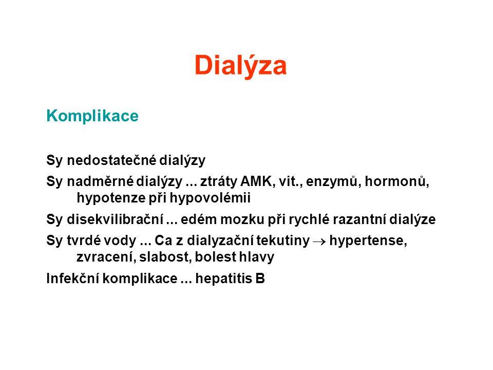 Dialýza Komplikace Sy nedostatečné dialýzy Sy nadměrné dialýzy... ztráty AMK, vit., enzymů, hormonů, hypotenze při hypovolémii Sy disekvilibrační... e