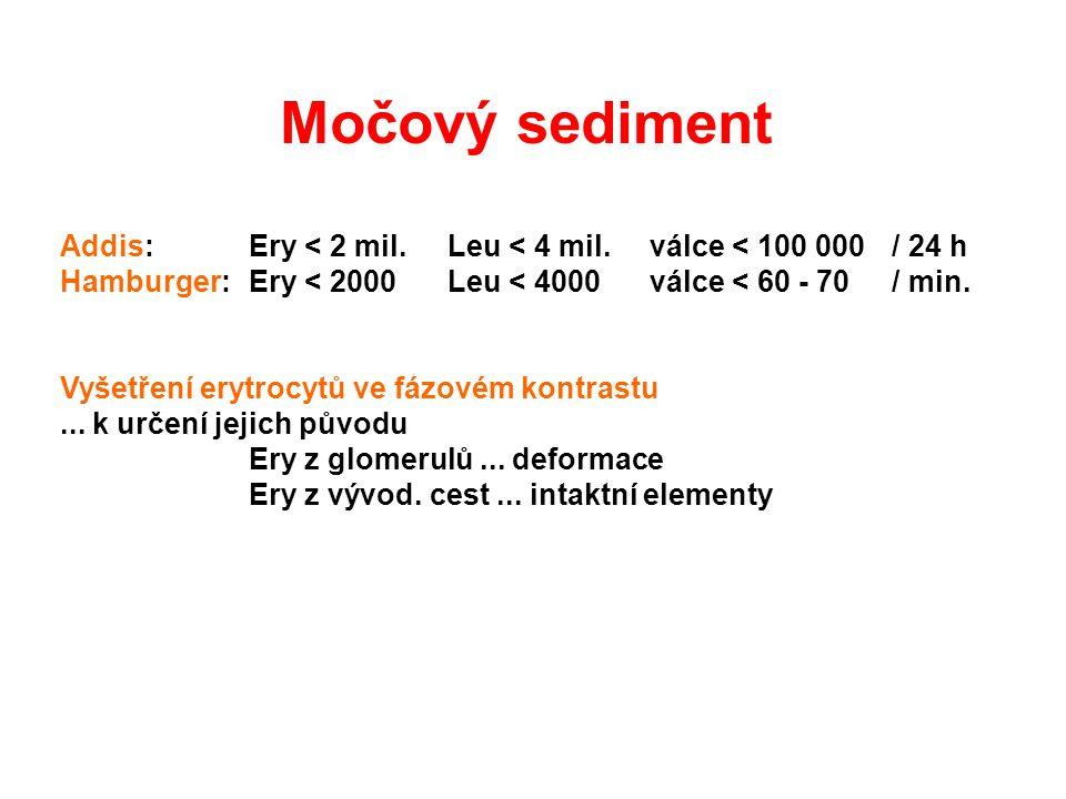 Addis:Ery < 2 mil.Leu < 4 mil.válce < 100 000/ 24 h Hamburger:Ery < 2000Leu < 4000válce < 60 - 70/ min. Vyšetření erytrocytů ve fázovém kontrastu... k