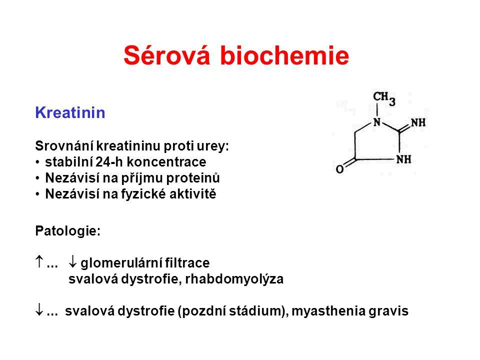Kreatinin Srovnání kreatininu proti urey: stabilní 24-h koncentrace Nezávisí na příjmu proteinů Nezávisí na fyzické aktivitě Patologie: ...  glomeru