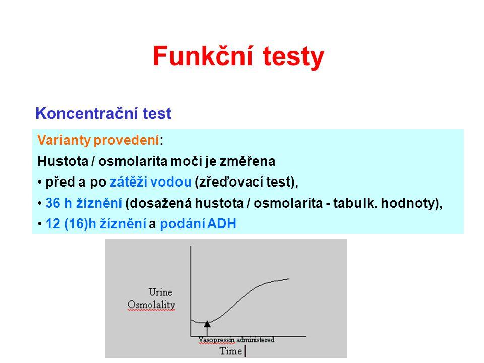 Koncentrační test Varianty provedení: Hustota / osmolarita moči je změřena před a po zátěži vodou (zřeďovací test), 36 h žíznění (dosažená hustota / o