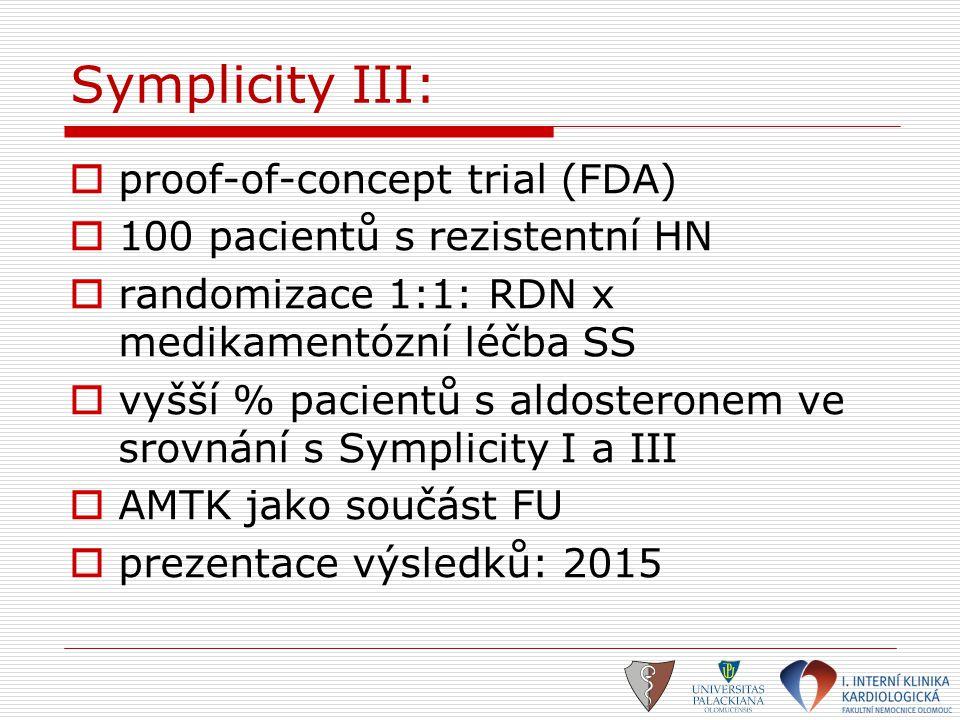 Symplicity III:  proof-of-concept trial (FDA)  100 pacientů s rezistentní HN  randomizace 1:1: RDN x medikamentózní léčba SS  vyšší % pacientů s a