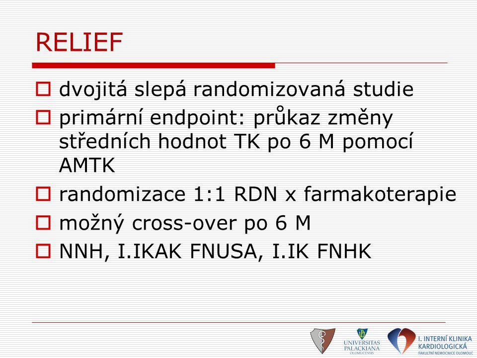 RELIEF  dvojitá slepá randomizovaná studie  primární endpoint: průkaz změny středních hodnot TK po 6 M pomocí AMTK  randomizace 1:1 RDN x farmakote