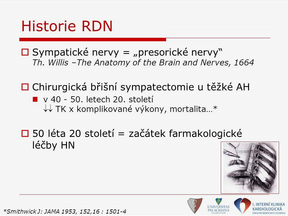 """Historie RDN  Sympatické nervy = """"presorické nervy"""" Th. Willis –The Anatomy of the Brain and Nerves, 1664  Chirurgická břišní sympatectomie u těžké"""
